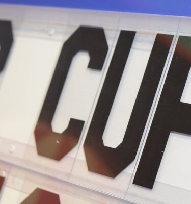 extra large display letters sitting in channels on letterboard for sportc club