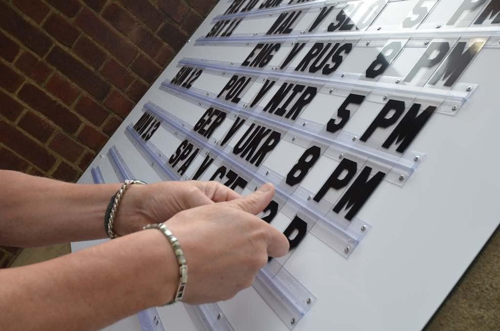 new replaceable plastic letters being applied into the pvc letter tracking