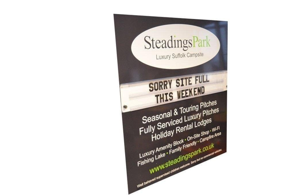 Steadings Park showing letterboard with changing messages