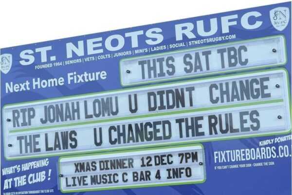 readerboard erected at st neots rugby club with testimonial to Jonah Lomo copy