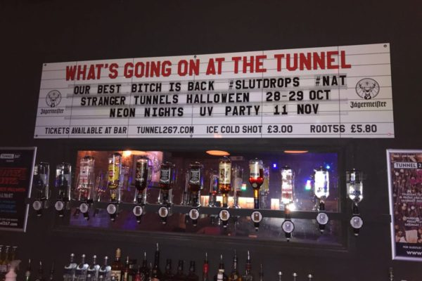 Readerboard showing what's on at The Tunnel