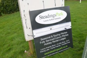 steading park new notice baord sign which has changeable messages