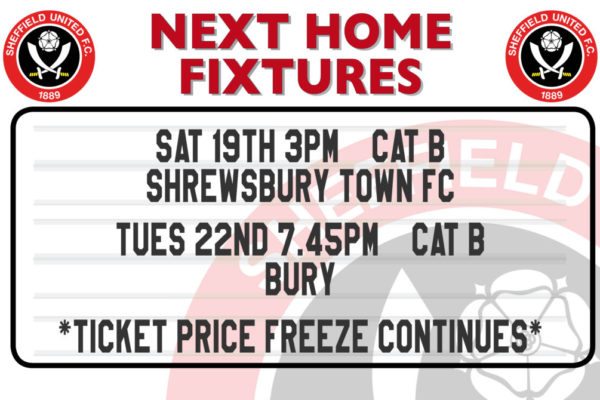 Next home fixtures for Sheffield United on a fixtureboard