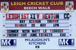 tamperproof and weatherproof chnageable fixture board for Leigh Cricket Club