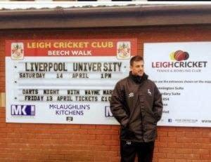 Leigh Cricket Club notice board with changeable plastic letter tiles on tracks to offer updated informationa nd new messages daily